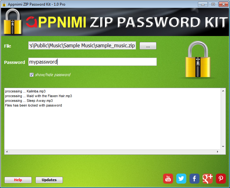 Appnimi Zip Password Kit Screen shot