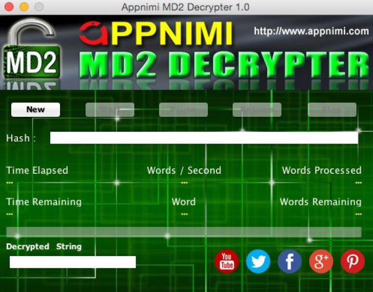appnimi md2 decrypter for mac - initial screen