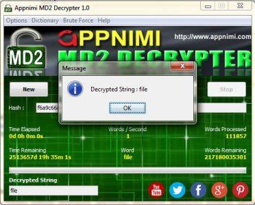 appnimi md2 decrypter for windows - decrypted string