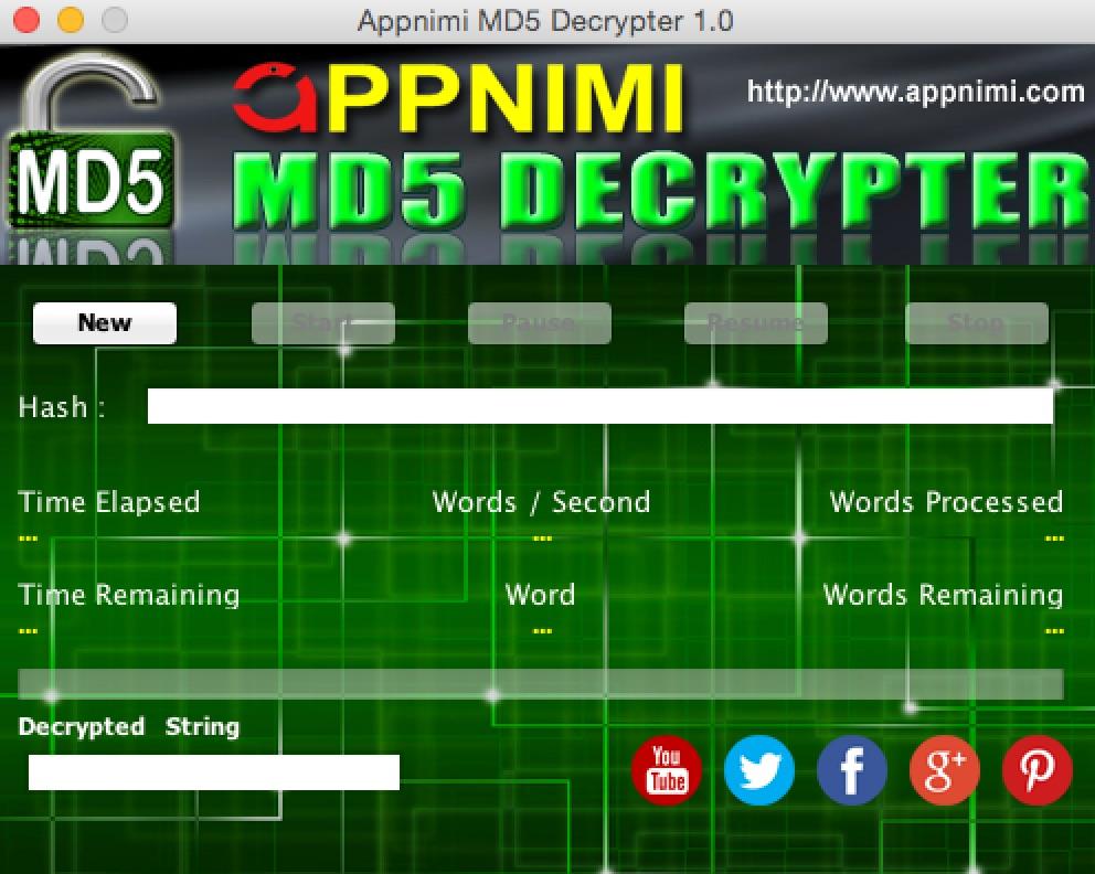 appnimi md5 decrypter for mac - initial screen