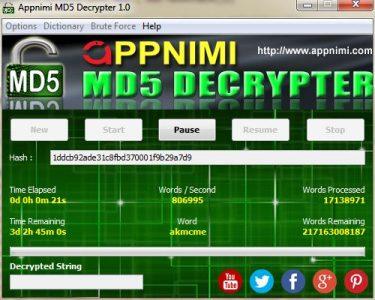 appnimi md5 decrypter for windows - decrypting