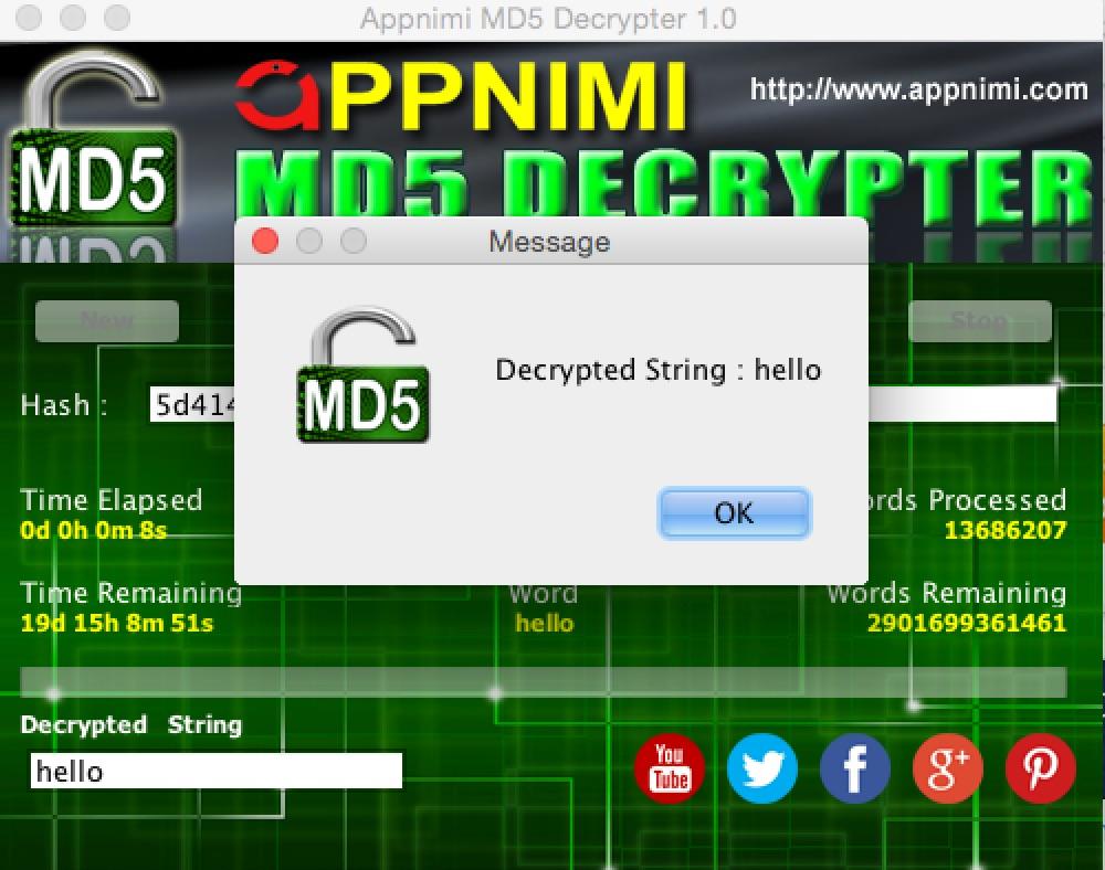 appnimi md5 decrypter for mac - decrypted string