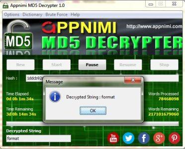 appnimi md5 decrypter for windows - decrypted string