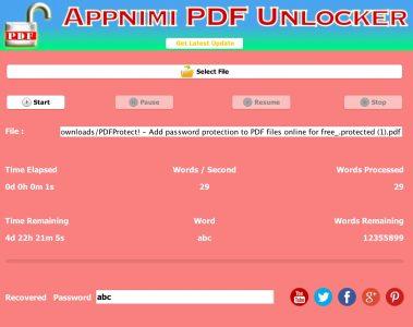 Appnimi PDF Unlocker - Password Recovery in Progress