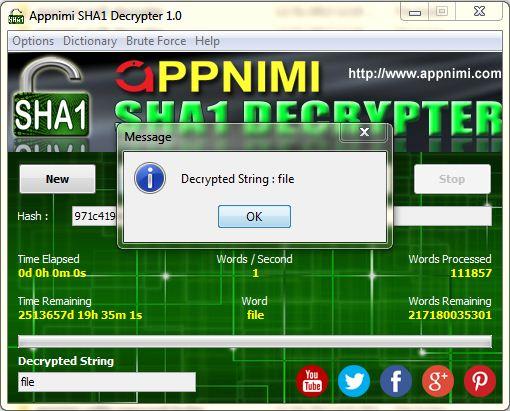 appnimi sha1 decrypter for windows - decrypted string