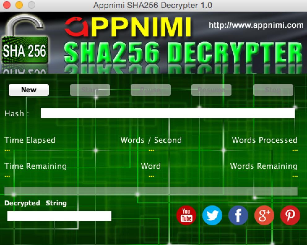 appnimi sha256 decrypter for mac - initial screen