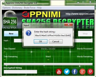 appnimi sha256decrypter for windows - enter hash string
