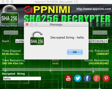 appnimi sha256 decrypter for mac - decrypted string
