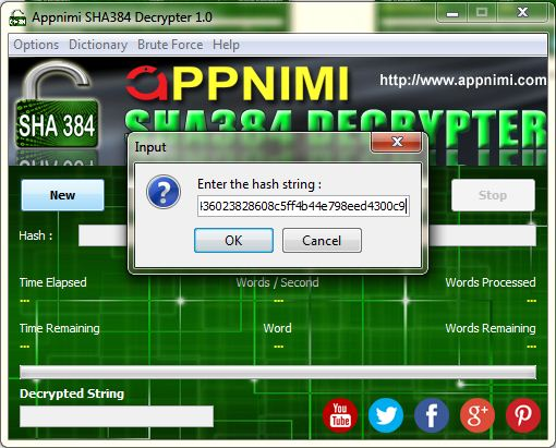 appnimi sha384 decrypter for windows - enter hash string