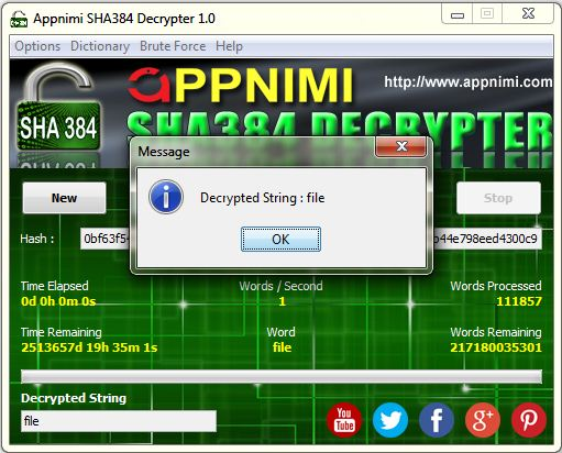 appnimi sha384 decrypter for windows - decrypted string