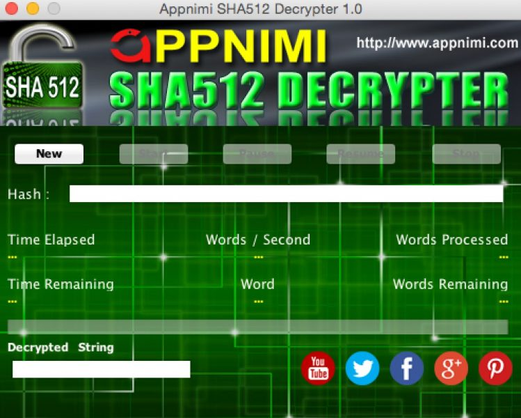 appnimi sha512 decrypter for mac - initial screen