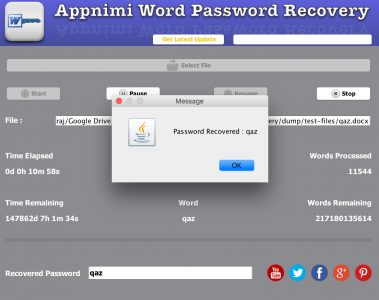 Appnimi Word Password Recovery - Password Recovered